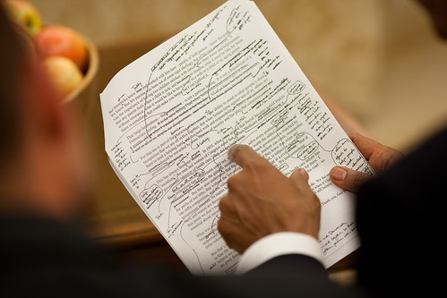 Pres. Obama's handwritten speech notes   by FlickrPhotosAccount