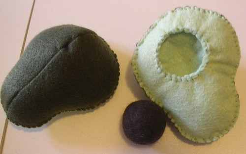 Avocado with wet felted pit | by Sam McLean Designs