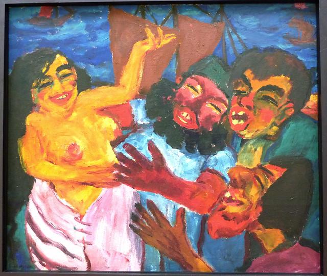 Emil Nolde: Heilige Maria Aegyptiaca - Linke Tafel: Im Hafen von Alexandrien (1912)