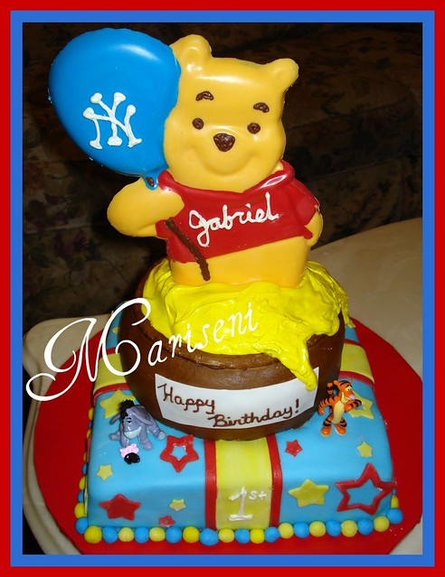 Chocolate Winnie The Pooh 1st Birthday Cake