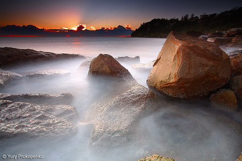 longexposure sea sky sun seascape beach water clouds sunrise canon landscape rocks sydney australia filter lee 5d northernbeaches whalebeach beachsunrise supershot abigfave