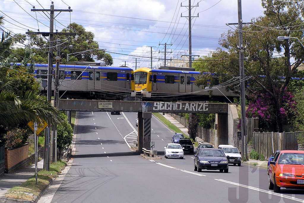my very last photo of a Connex run train in Melbourne, 812M-713M crosses over Bay St Cheltenham ~28.11.09 by James 460
