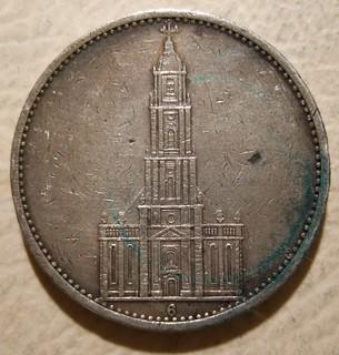 GERMANY, THIRD REICH 1934 ---5 REICHSMARK b