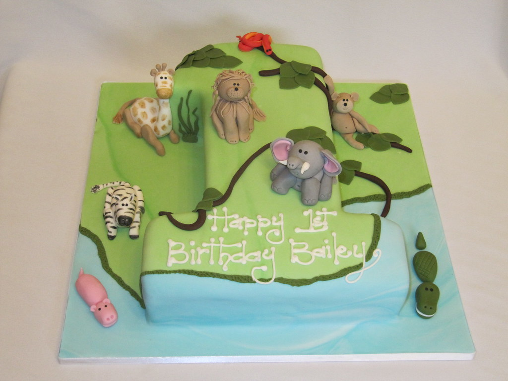 Excellent Jungle Theme Birthday Cake For My Friends One Year Old Boy Flickr Funny Birthday Cards Online Aeocydamsfinfo