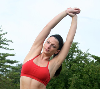 Sexy Beautiful Woman Model Stretching in Park   by PhotoAmateur1
