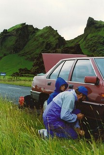 fixing a flat tire in Iceland