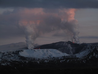 Volcanic eruption between Myrdalsjokull and Eyjafjallajokull glaciers | by Narisa