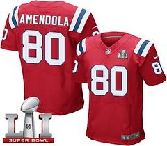 Nike Patriots #80 Danny Amendola Red Alternate Super Bowl LI 51 Men's Stitched NFL Elite Jersey