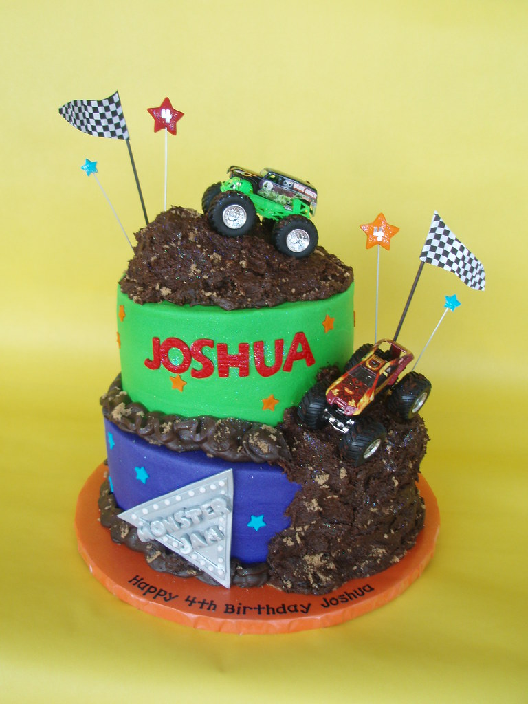 Wondrous Monster Truck Jam Birthday Cake Four Year Old Joshua Celeb Flickr Funny Birthday Cards Online Elaedamsfinfo