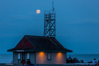 Full moon rising over Leuty Lifeguard Station - Kew Beach, Toronto | by Phil Marion (176 million views - THANKS)