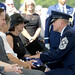 Chief Master Sgt. of the Air Force James A. Cody consoles Jan Binnicker, widow of ninth Chief Master Sgt. of the Air Force James Binnicker, before he is laid to rest in Arlington National Cemetery, Aug. 14, 2015. Binnicker passed away March 21, in Calhoun, Ga. (U.S. Air Force photo/Scott M. Ash)