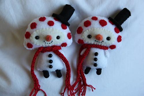 Mushroom Snowman Ornaments
