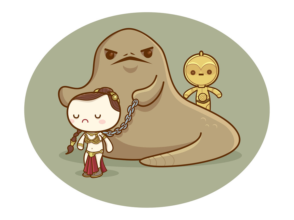 Kawaii Star Wars - Jabba & Slave Leia | Star wars kawaii