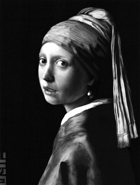 Girl With A Pearl Earring, Biro drawing