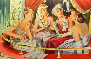 1940s FASHION ILLUSTRATION women advertisement ball gowns opera box theatre | by Christian Montone