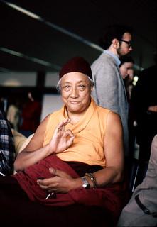HH Dilgo Khyentse Rinpoche displaying the vitarka mudrā, Teaching, Giving Instruction, Reason, Preaching, Transmission of the Dharma mudra, after a visit to the Sakya Dharma Center, 1976, SeaTac Airport,  Seattle, Washington, USA | by Wonderlane