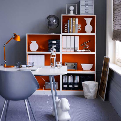 Ideas for the office: Gray paint + orange accents + playful details