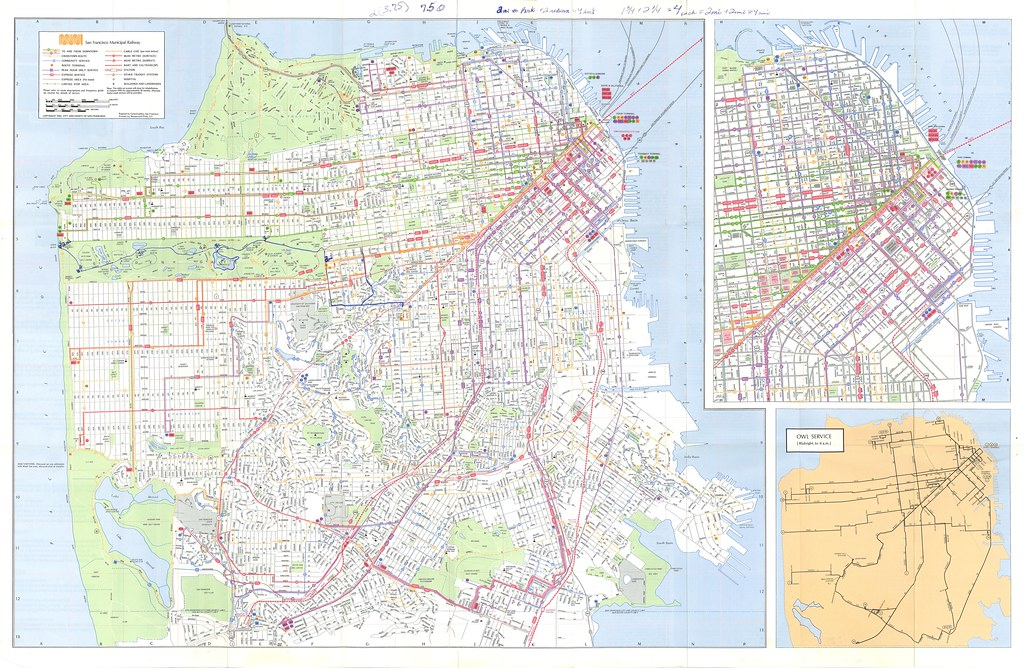 San Francisco Muni Street and Transit Map (1982) | Eric ...