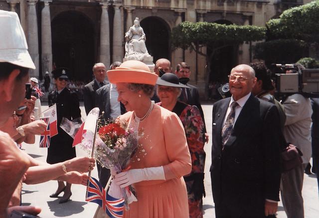 H.E. President Emeritus of Malta Vincent Tabone. (HRH Queen Elizabeth II visits Malta 1992