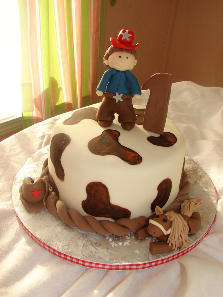 Groovy Cowboy First Birthday Cake Clarissa Lopez Flickr Funny Birthday Cards Online Inifofree Goldxyz