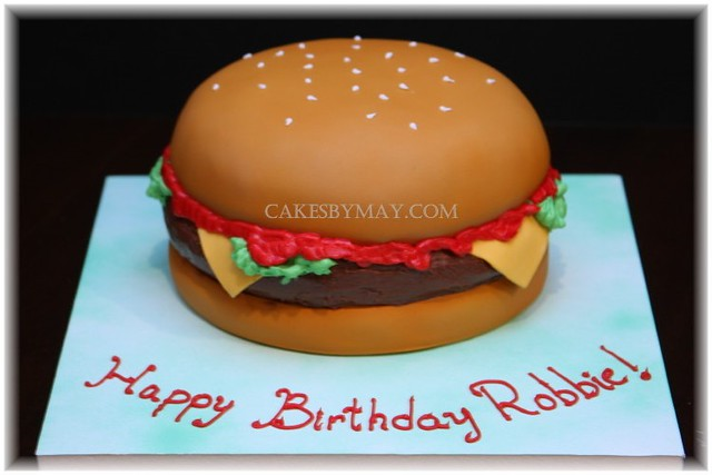 Astonishing Cheeseburger Cake No Meat In This Burger Made This For M Flickr Funny Birthday Cards Online Inifofree Goldxyz