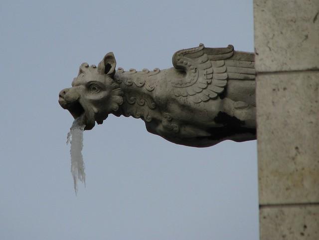 Sacre Coeur gargoyle with icicles
