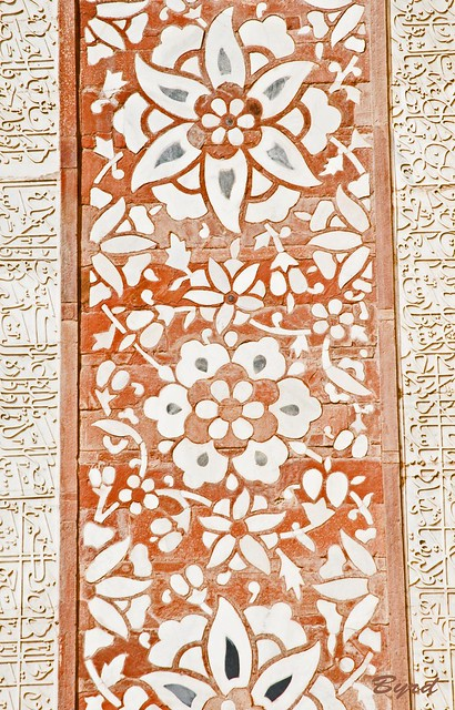 Floral pattern detail of inlaid stonework - exterior Main Gate, Akbar's Tomb complex