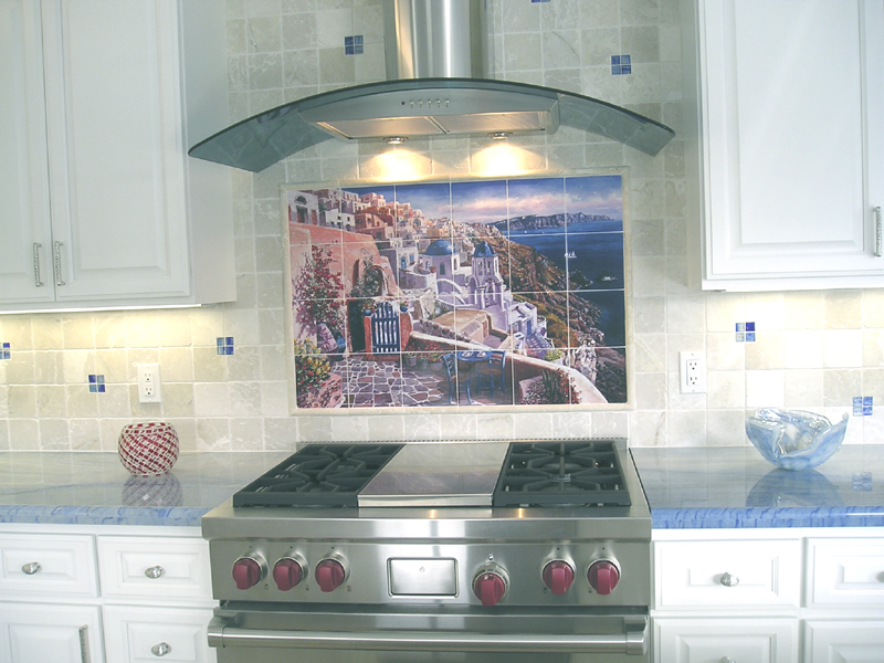 View Of Santorini Kitchen Backsplash Tile Mural Kitchen Ba Flickr