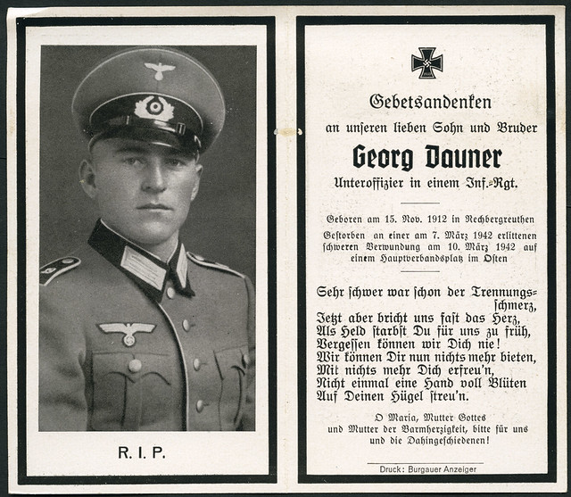 Archiv A113 Sterbebildchen, Georg Dauener, WWII, 1942