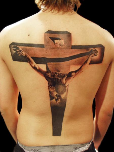 Salvador Dali`s cross tattoo