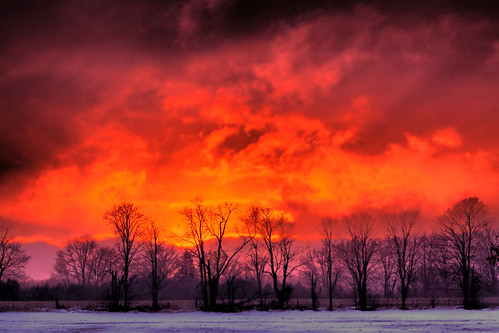 sunset red orange snow ontario field rural canon geotagged dusk farm colourful hampton hdr xsi durhamregion tonemapped 450d giltennant