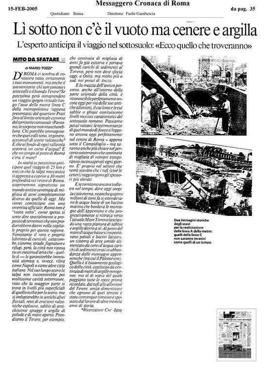 Rome - Imperial Fora: Metro 'C' Archaeological Surveys (2005-2009). / The Velia Hill & the Palazzo Rivaldi. 'LI SOTTO NON C'E` IL VUOTO MA CENERE E ARGILLA (IL MESSAGGERO 15/02/2005), P. 35.