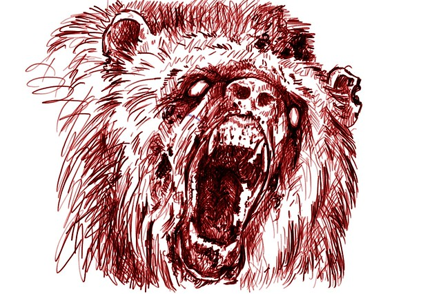 Zombie Bear 2 Anger Red Bear Outline Drawn In Corel Pai Flickr