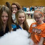 Making ice cream with liquid nitrogen.  Each group got to choose which ingredients they wanted, so every batch was something new and delicious!