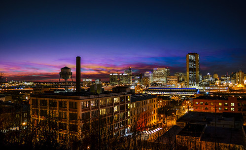 churchhill richmond va virginia rva centralvirginia city downtown urban skyline sunset color dark night longexposure timelapse 2017 february zachclarke2 zachclarke nikon nikond5100 explore explored sky clouds purple red blue watertower shockoebottom mainstreetstation trainstation panorama landscape