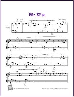 Madison : Fur elise easy piano sheet music