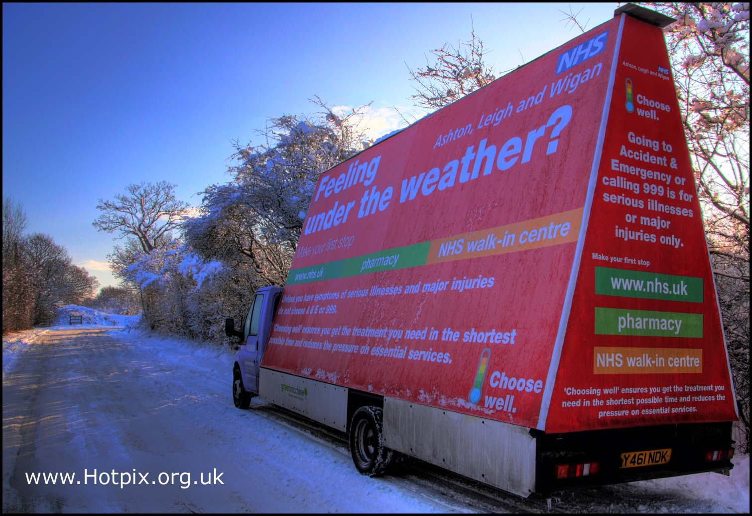 NHS,van,ashton,wigan,lancs,lancashire,north,west,england,britain,red,blue,wnow,ice,winter,cold,vehicle,grappenhall,weaste,lane,ln,cheshire,warrington,UK,january,2010,big,freeze,britains,Yikker,HDR,high dynamic range,rot-rosso-rouge-rood,Hotpicks,hotpics,hot,pics,pix,picks,highway,road,hotpix.freeserve.co.uk,hotpix!