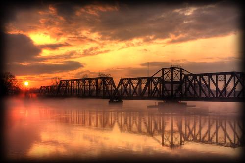 bridge sunset water fog river hdr