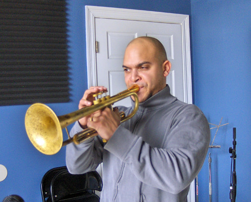 Irvin Mayfield Jr. in the WWOZ studios, during Spring 2010 Pledge Drive.  Photo by WWOZ.