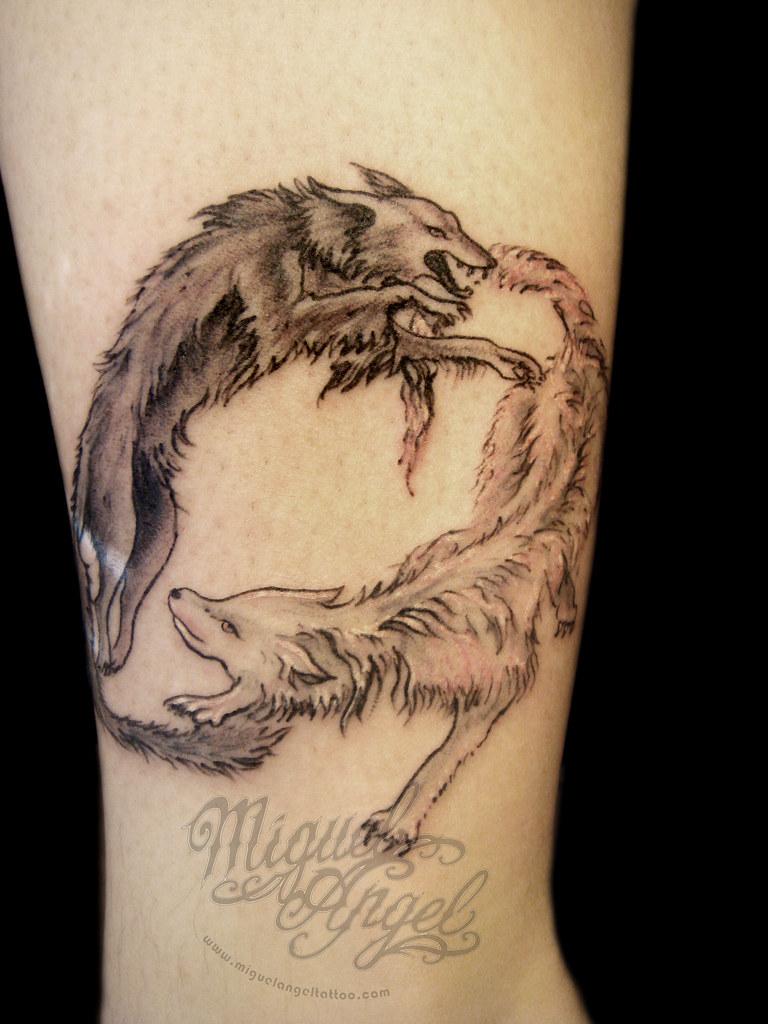 06f8665050da8 Custom bad wolf, good wolf fight tattoo | Miguel Angel Custo… | Flickr