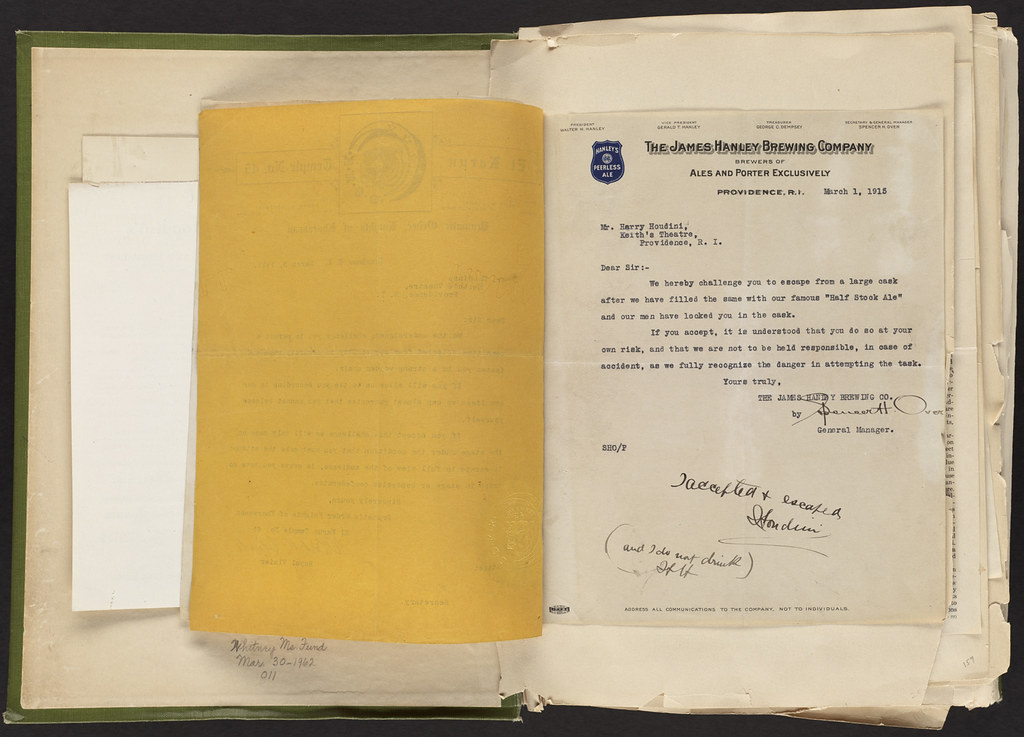 Harry Houdini Scrapbook [James Hanley Brewing Co. Challenge Letter to Harry Houdini, March 1, 1915]