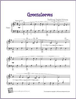 Greensleeves   Free Easy Piano Sheet Music (PDF)   Greenslee