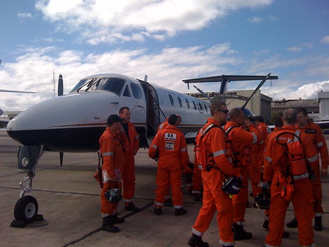 UK Fire Service Search and Rescue team about to board flight from Santo Domingo to Port au Prince