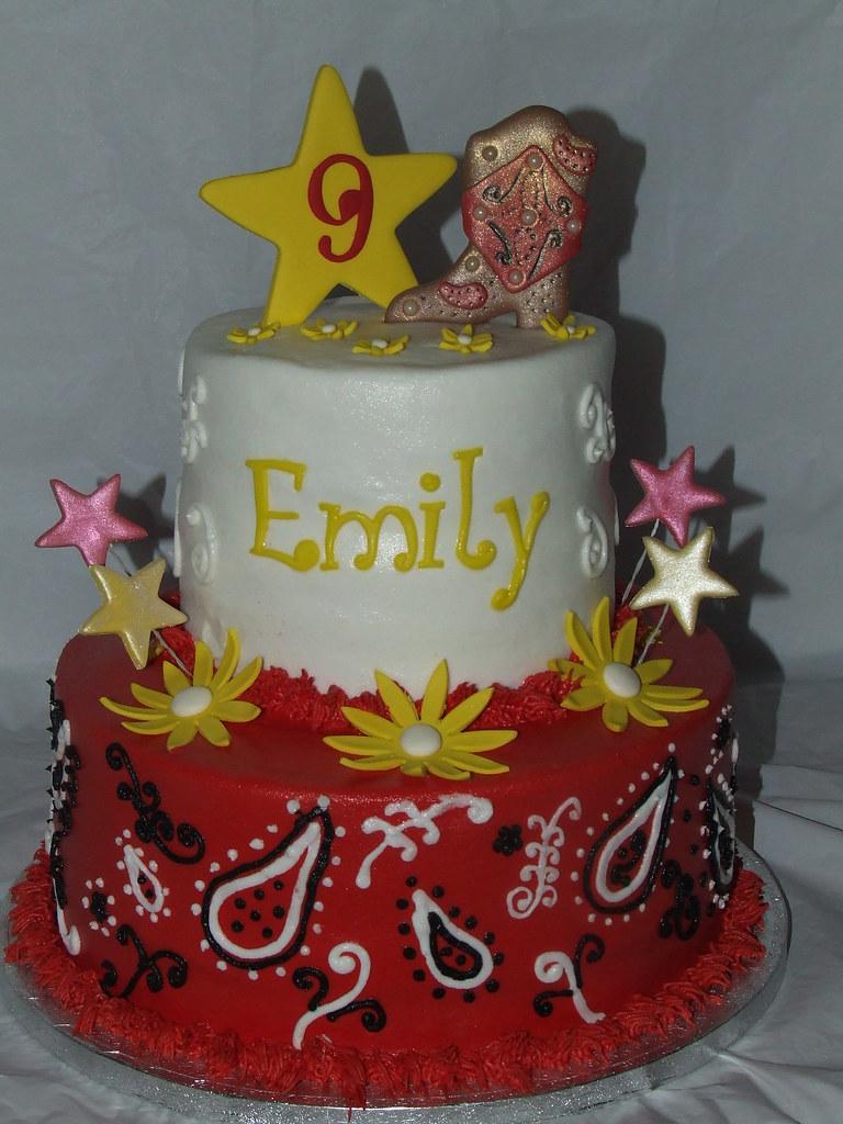 Strange Cowgirl Birthday Cake Debbie Flickr Personalised Birthday Cards Bromeletsinfo