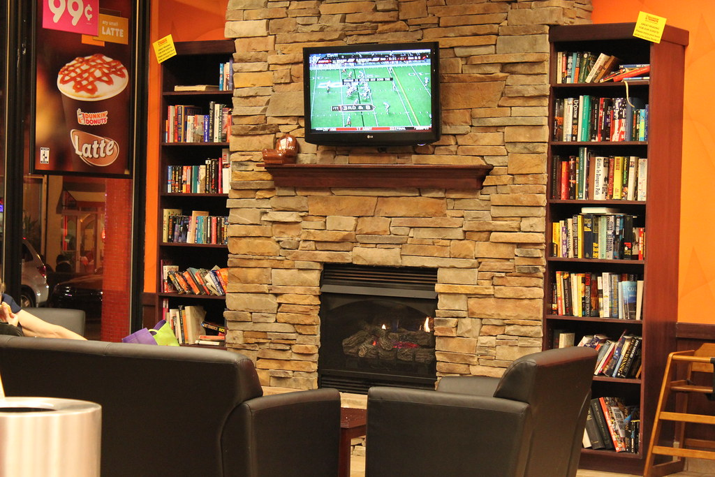 Fireplace at Dunkin\' Donuts | My idea of a personal library ...