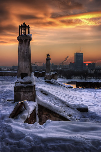 sunset sky urban snow river cityscape serbia belgrade