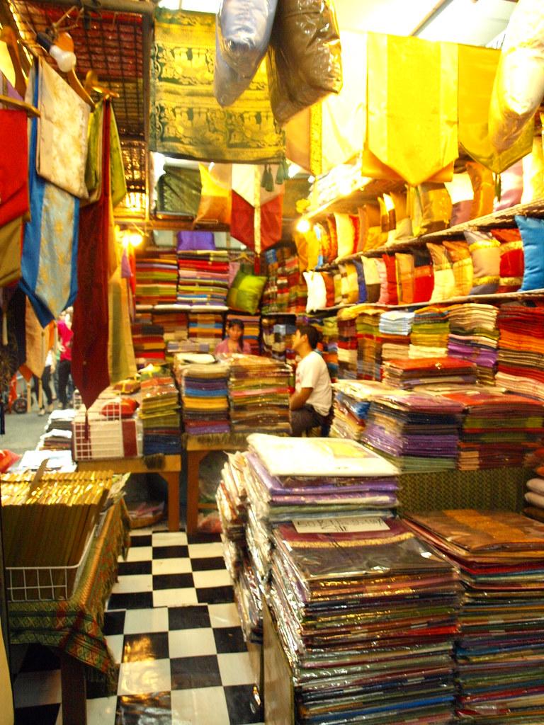Silk stalls in Chatuchak Market
