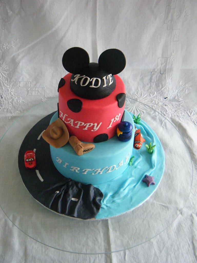 Enjoyable Disney Themed 1St Birthday Cake Disney Themed 1St Birthday Flickr Funny Birthday Cards Online Inifodamsfinfo