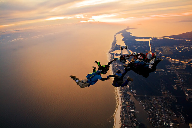 Skydiving 2009, 7 way sunset load over the Florabama