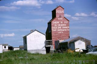 Grain elevator with Bible verse in Ellerslie, Alberta